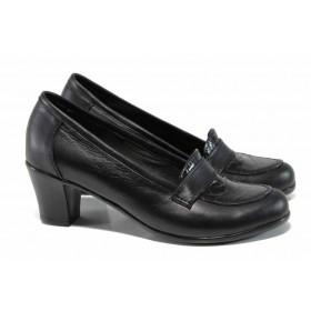 """Дамски обувки на среден ток - естествена кожа с """"кроко"""" мотив - черни - EO-12113"""