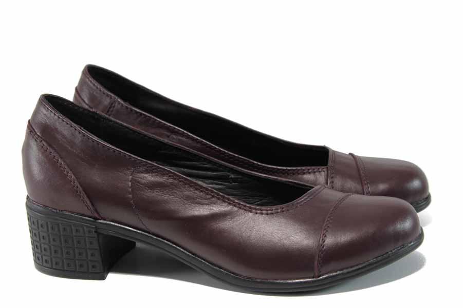 Дамски обувки на среден ток - естествена кожа - бордо - EO-12111
