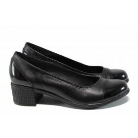 Дамски обувки на среден ток - естествена кожа - черни - EO-12112