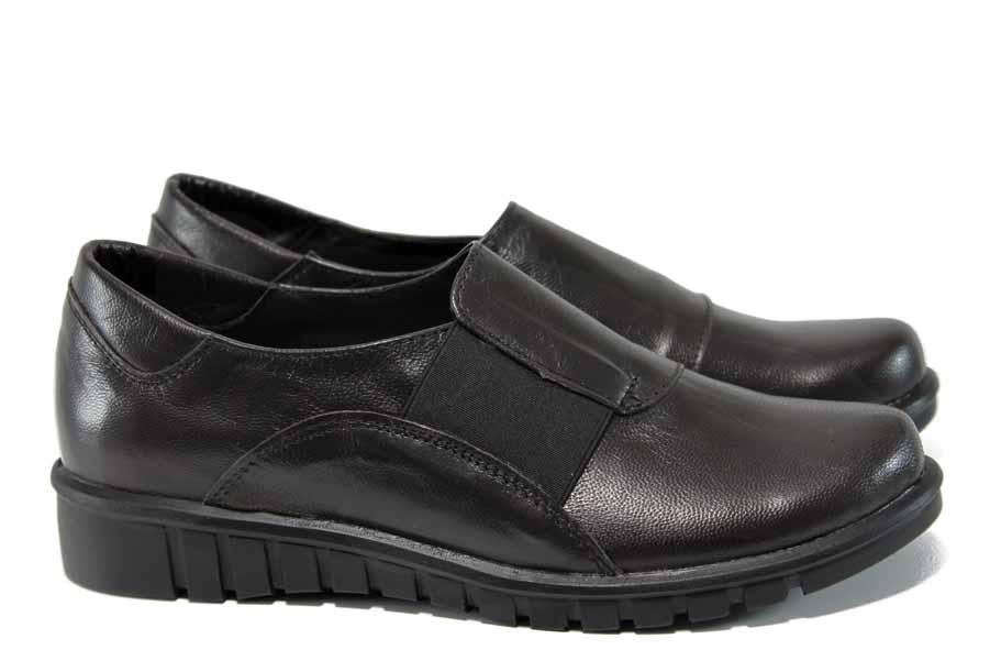 Равни дамски обувки - естествена кожа - кафяви - EO-12104
