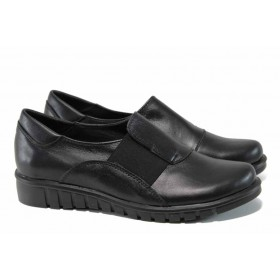 Равни дамски обувки - естествена кожа - черни - EO-12103