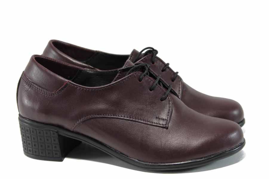 Дамски обувки на среден ток - естествена кожа - бордо - EO-12110