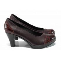 """Дамски обувки на висок ток - естествена кожа с """"кроко"""" мотив - бордо - EO-12120"""