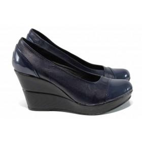 Дамски обувки на платформа - естествена кожа - тъмносин - EO-12115