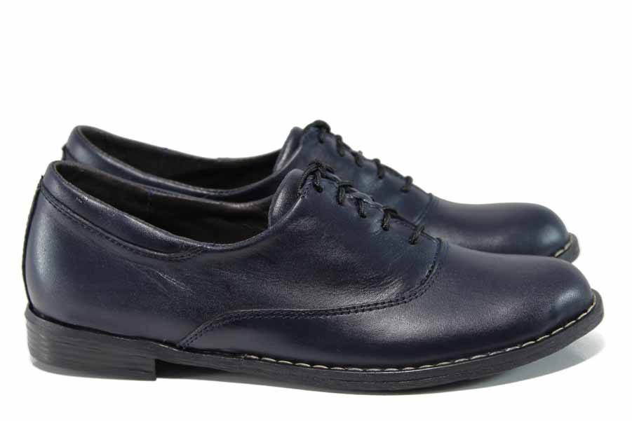Равни дамски обувки - естествена кожа - тъмносин - EO-12105