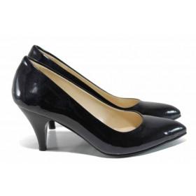 Дамски обувки на висок ток - висококачествена еко-кожа - черни - EO-12152