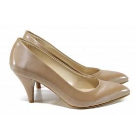Дамски обувки на висок ток - висококачествена еко-кожа - бежови - EO-12151