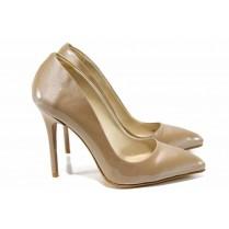 Дамски обувки на висок ток - висококачествена еко-кожа - бежови - EO-12150