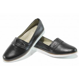 Равни дамски обувки - естествена кожа - черни - EO-12147
