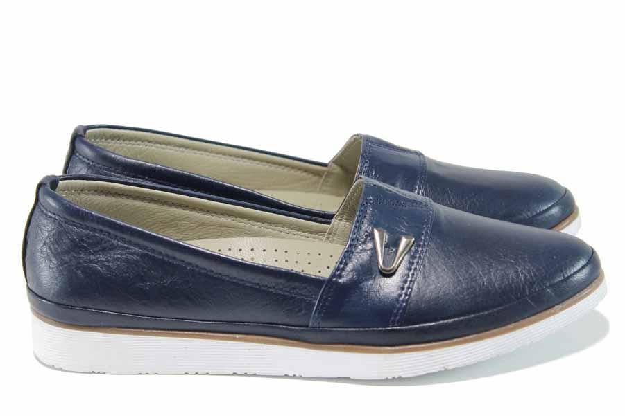 Равни дамски обувки - естествена кожа - тъмносин - EO-12148
