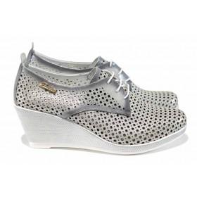 Дамски обувки на платформа - естествена кожа - сребро - EO-12154
