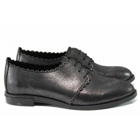 Равни дамски обувки - естествена кожа - тъмносин - EO-12153
