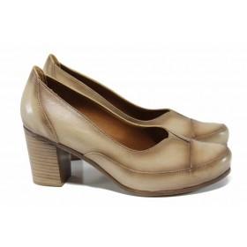 Дамски обувки на висок ток - естествена кожа - бежови - EO-12142