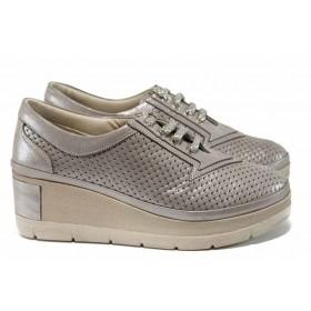 Дамски обувки на платформа - естествена кожа - бежови - EO-12137