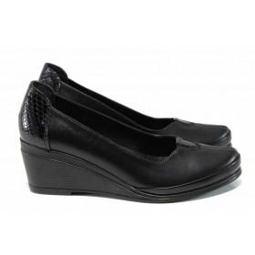 Дамски обувки на платформа - естествена кожа - черен - EO-12140