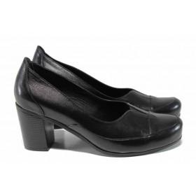 Дамски обувки на висок ток - естествена кожа - черни - EO-12141