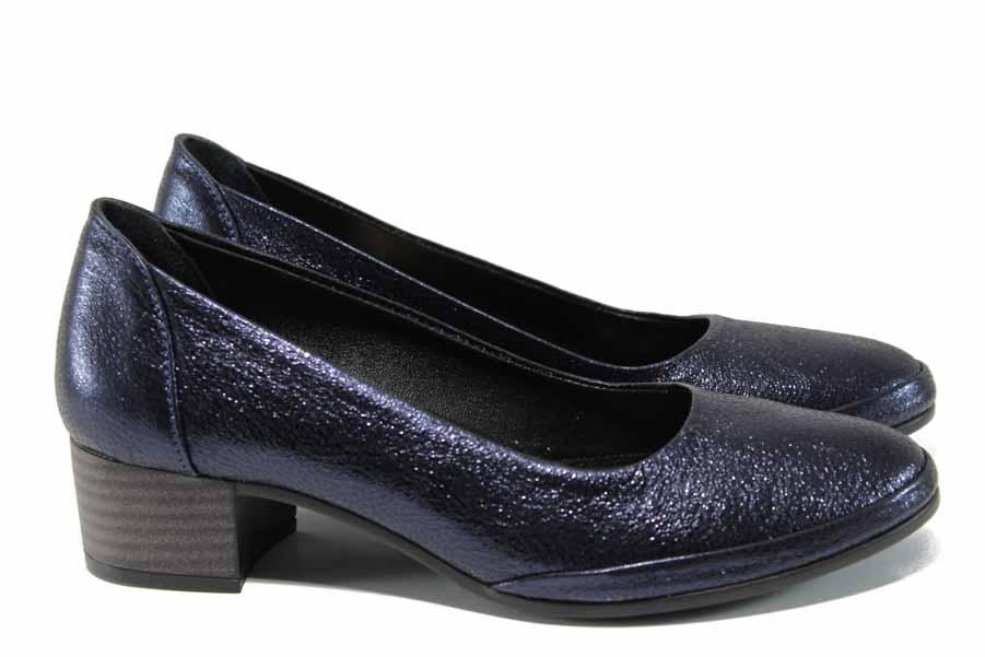 Дамски обувки на среден ток - естествена кожа - тъмносин - EO-12143