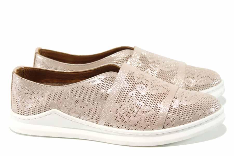 Равни дамски обувки - естествена кожа - розови - EO-12131