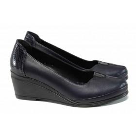 Дамски обувки на платформа - естествена кожа - тъмносин - EO-12139