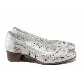 Дамски обувки на среден ток - естествена кожа - сребро - EO-12164