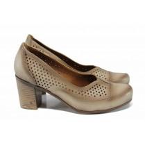 Дамски обувки на висок ток - естествена кожа - бежови - EO-12163