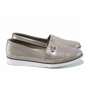 Равни дамски обувки - естествена кожа - сребро - EO-12158
