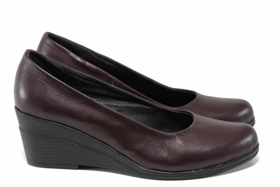 Дамски обувки на платформа - естествена кожа - бордо - EO-12171