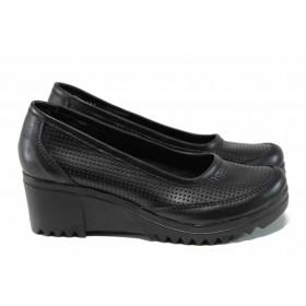 Дамски обувки на платформа - естествена кожа - черни - EO-12172