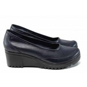 Дамски обувки на платформа - естествена кожа - сини - EO-12173