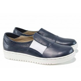 Равни дамски обувки - естествена кожа - сини - EO-12176