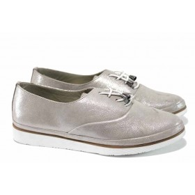 Равни дамски обувки - естествена кожа - сребро - EO-12285