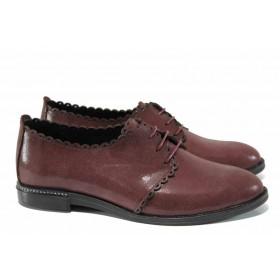 Равни дамски обувки - естествена кожа - бордо - EO-12286