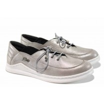 Равни дамски обувки - естествена кожа - сиви - EO-12281