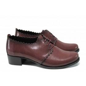 Дамски обувки на среден ток - естествена кожа - бордо - EO-12287