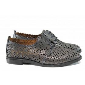 Равни дамски обувки - естествена кожа - сиви - EO-12362