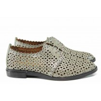 Равни дамски обувки - естествена кожа - зелени - EO-12361