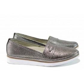 Равни дамски обувки - естествена кожа - сребро - EO-12360