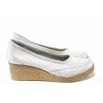 Дамски обувки на платформа - естествена кожа - бели - EO-12356