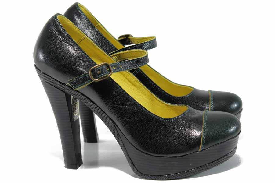 Дамски обувки на висок ток - естествена кожа - зелени - EO-12357