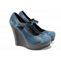 Дамски обувки на платформа - естествена кожа с естествен велур - сини - EO-12353