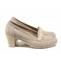 Дамски обувки на среден ток - естествена кожа - бежови - EO-12358