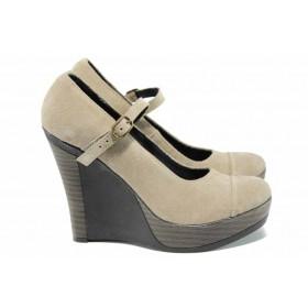 Дамски обувки на платформа - естествена кожа с естествен велур - бежови - EO-12354