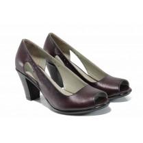 Дамски обувки на висок ток - естествена кожа - бордо - EO-12399