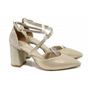 Дамски сандали - висококачествена еко-кожа - жълти - EO-12397