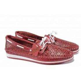 Мокасини - естествена кожа - червени - EO-12458
