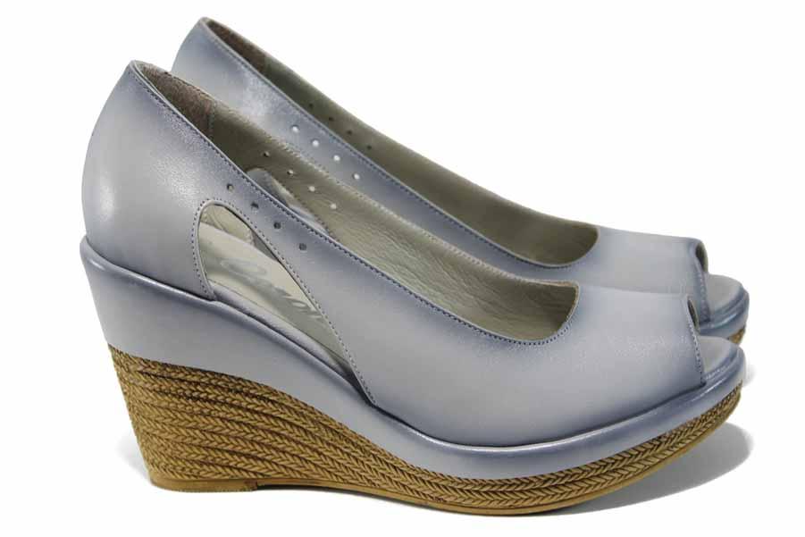 Дамски обувки на платформа - естествена кожа - сиви - EO-12464