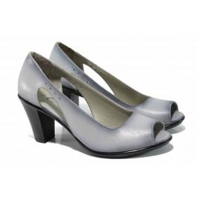 Дамски обувки на висок ток - естествена кожа - сиви - EO-12463
