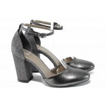 Дамски обувки на висок ток - висококачествена еко-кожа - сиви - EO-12461
