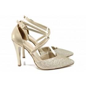 Дамски обувки на висок ток - висококачествена еко-кожа - жълти - EO-12462