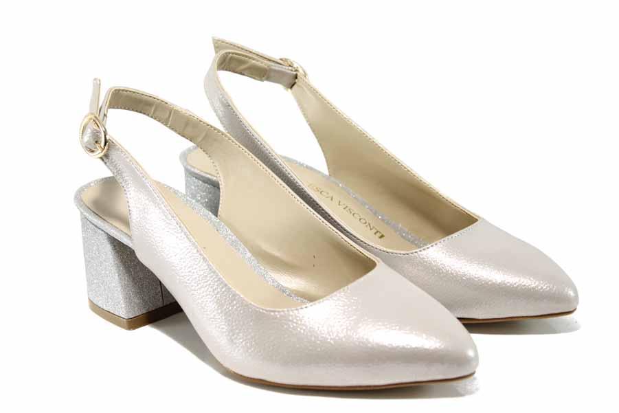 Дамски обувки на среден ток - висококачествена еко-кожа - бежови - EO-12459